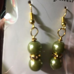 Olive green faux pearl earrings with fishhook back